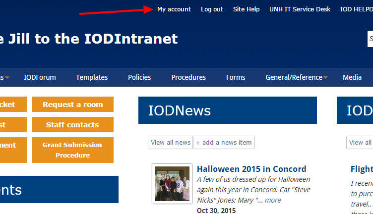 my account button on intranet